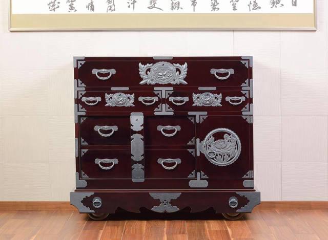仙台箪笥 閂型車箪笥 KB-48/KEB-48/KR-48 木地呂漆塗り/朱色漆塗り/伝統色漆塗り