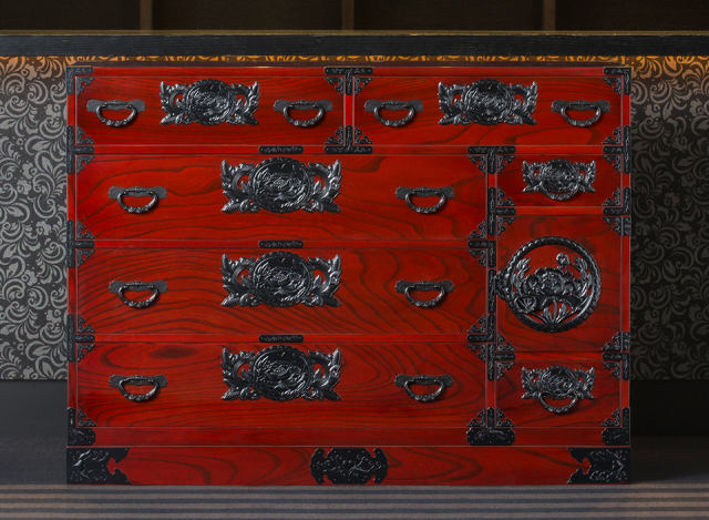 仙台箪笥 四.五尺野郎箪笥 KB-7/KEB-7/KR-7 木地呂漆塗り/朱色漆塗り/伝統色漆塗り