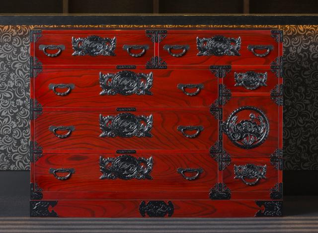 仙台箪笥 四.五尺野郎箪笥 KB/KEB/KR-7 木地呂漆塗り/朱色漆塗り/伝統色漆塗り