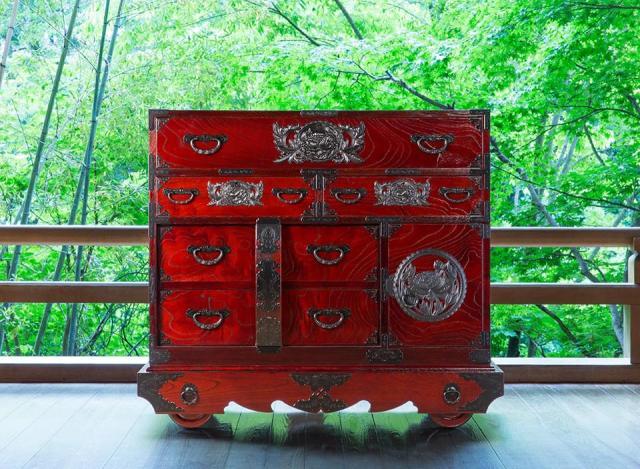 仙台箪笥 閂型車箪笥 KC-48 拭き漆塗り