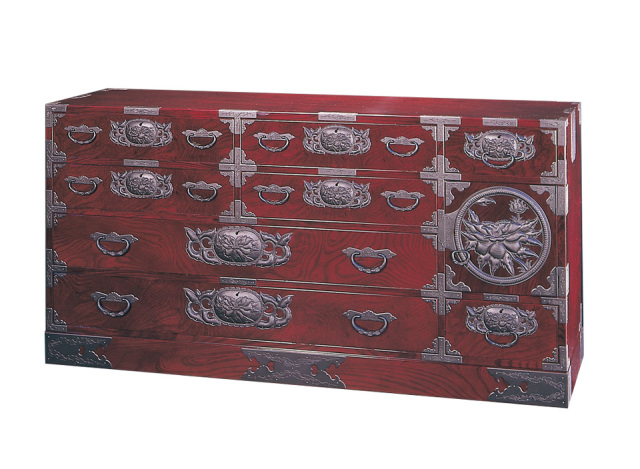 仙台箪笥 五尺横長箪笥75 KD-12 小田俊直作 彫金手打金具【特注】