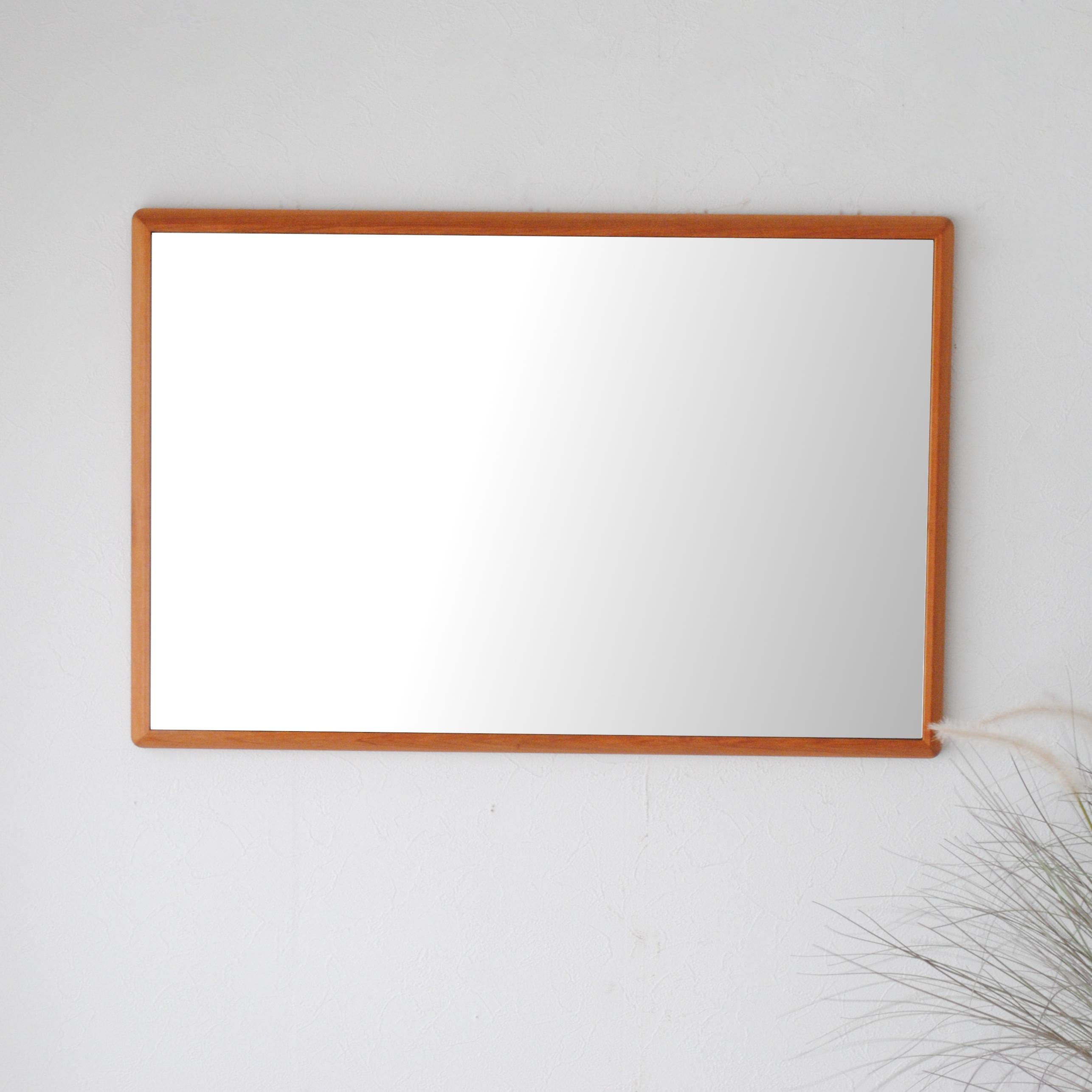 ステラ 49.2x74.2cm アメリカンチェリー材 姿見 壁掛けミラー 長方形 (通常便商品)