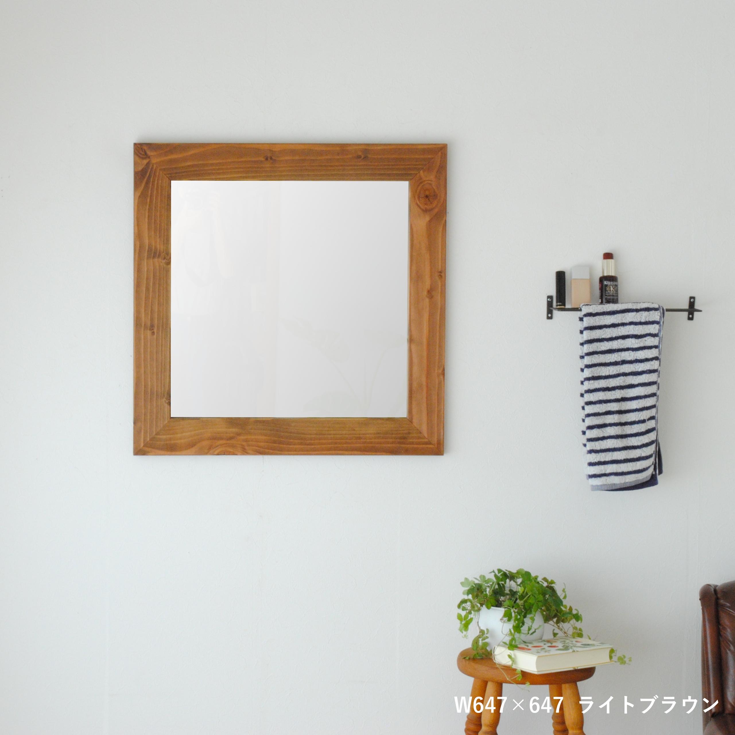 クロノス  ウォールミラー W645×645 壁掛け 全身 鏡 アンティーク調 日本製  ライトブラウン ダークブラウン ホワイト