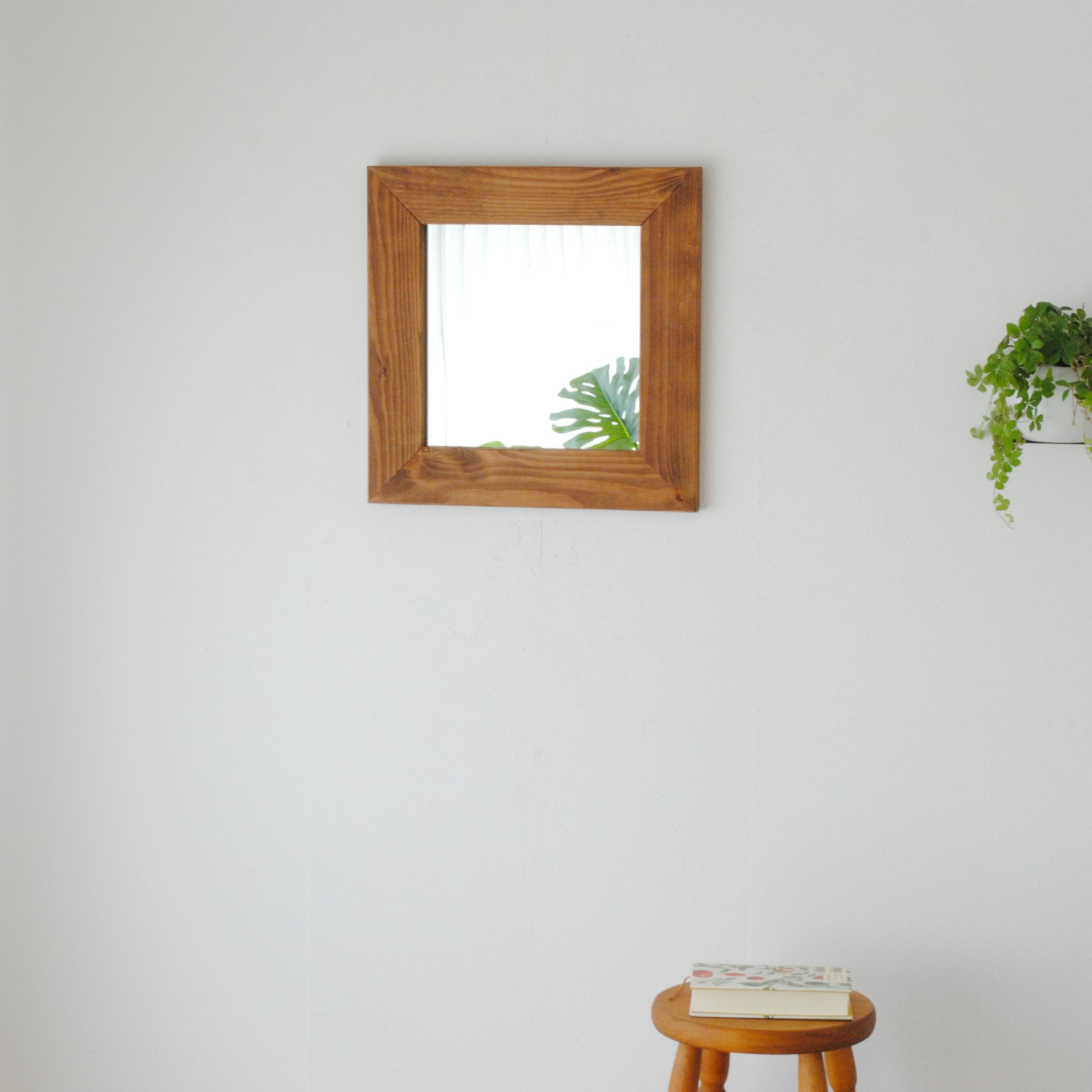クロノス  ウォールミラー W445×445 壁掛け 全身 鏡 アンティーク調 日本製  ライトブラウン ダークブラウン ホワイト