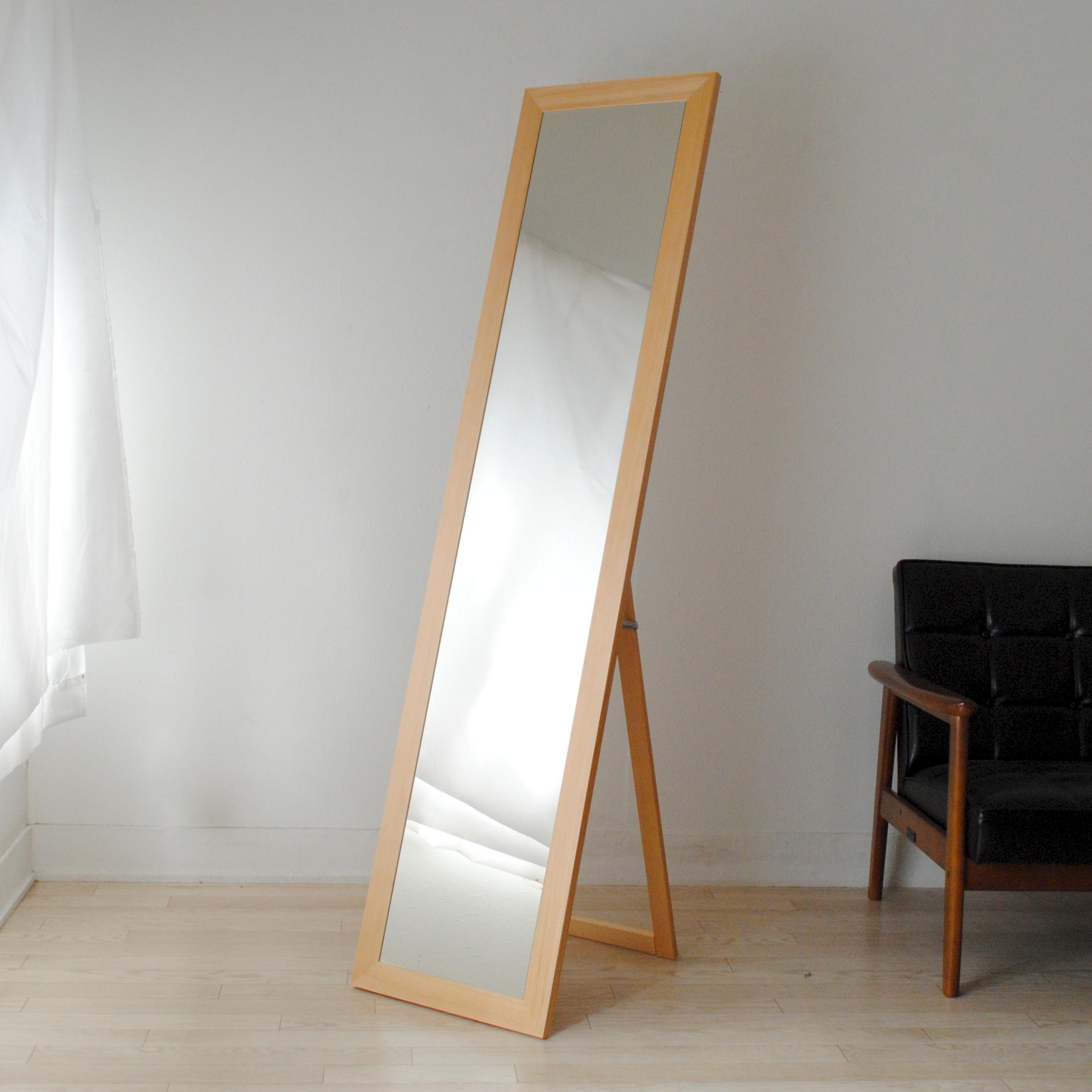 レオン スタンドミラー 40x161cm 全2色 姿見 全身鏡 (大型商品)