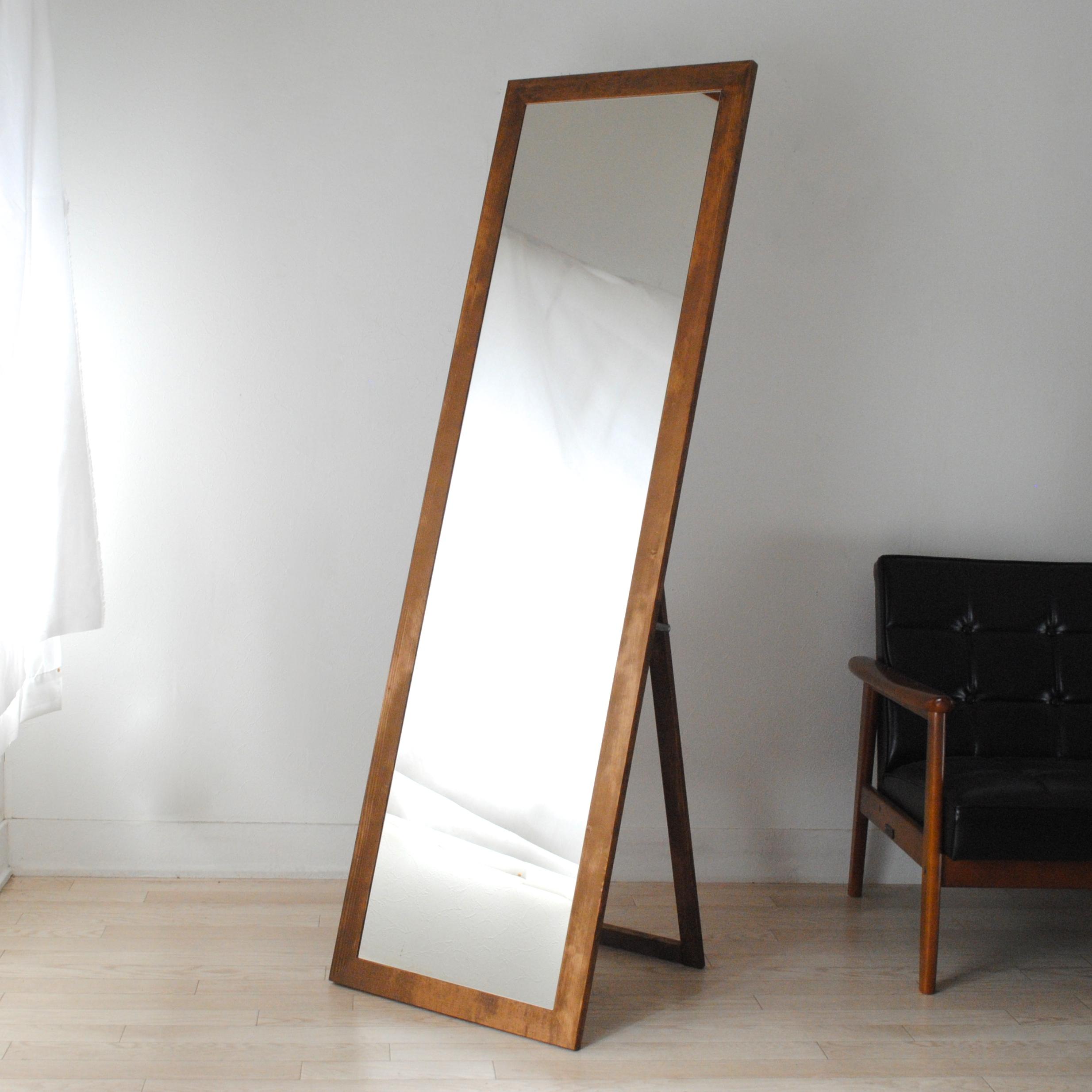レオン スタンドミラー 50x161cm 全2色 姿見 全身鏡 (大型商品)