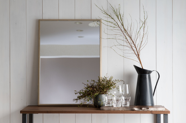 ステラ 64.2x88.2cm ホワイトアッシュ材 全4色 姿見 壁掛けミラー 長方形 (通常便商品)