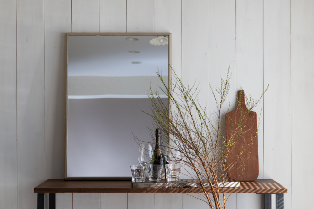 ステラ ウォールミラー ホワイトアッシュ W492×742 壁掛け 全身 鏡 アンティーク調 日本製