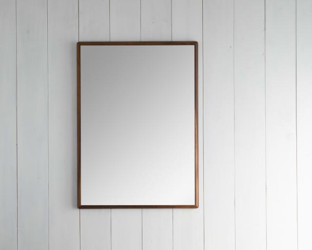 ステラ 49.2x74.2cm ウォールナット材 姿見 壁掛けミラー 長方形 (通常便商品)