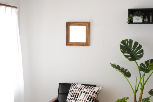 レオン ウォールミラー 壁掛け 鏡 アンティーク調 天然木 日本製 W330×330