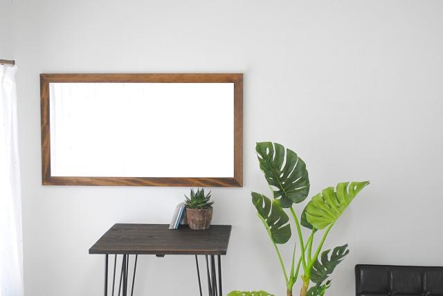 レオン ウォールミラー 壁掛け 全身 鏡 アンティーク調 天然木 日本製 ブラウン ナチュラル W600×1080