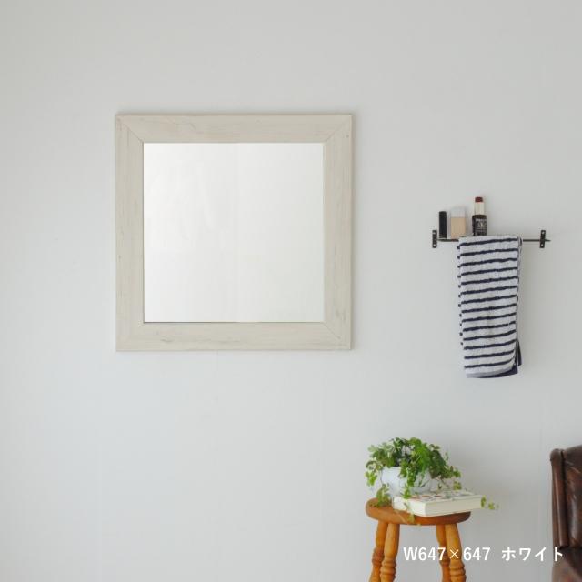 クロノス  ウォールミラー W647×647 壁掛け 全身 鏡 アンティーク調 日本製 ホワイト WH
