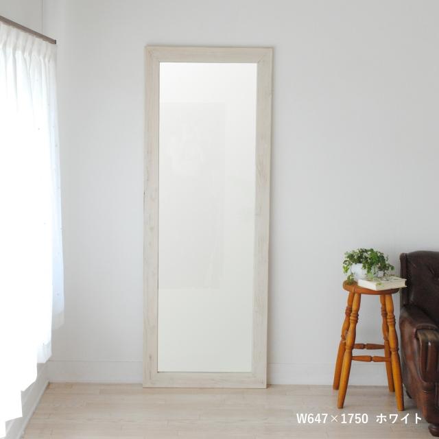 クロノス  ウォールミラー W647×1750  全身 鏡 アンティーク調 日本製 ホワイト WH