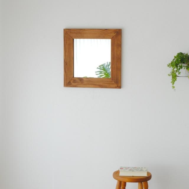 クロノス 44.5x44.5cm 全3色 アンティーク調 壁掛けミラー 正方形 (通常便商品)