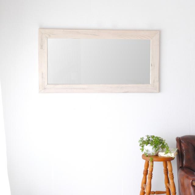 クロノス  ウォールミラー W547×1047 壁掛け 全身 鏡 アンティーク調 日本製 ホワイト WH