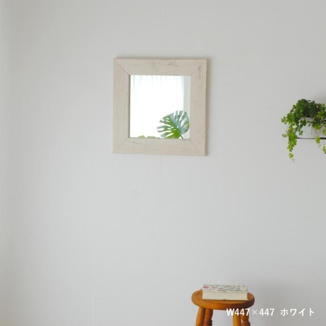 クロノス  ウォールミラー W447×447 壁掛け 全身 鏡 アンティーク調 日本製 ホワイト WH