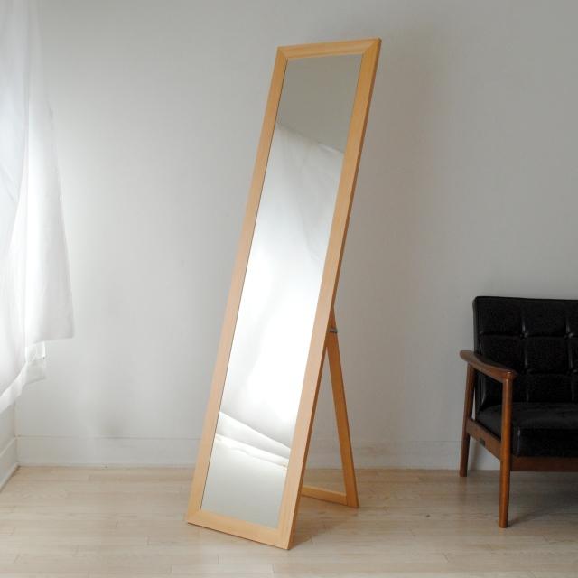 レオン スタンドミラー 全身 鏡 姿見 天然木 日本製 W400×1610