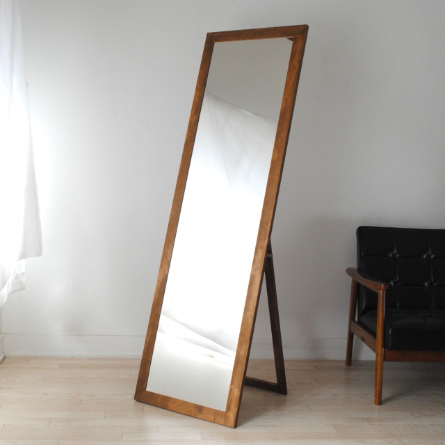 レオン スタンドミラー 全身 鏡 姿見 天然木 日本製 W500×1610