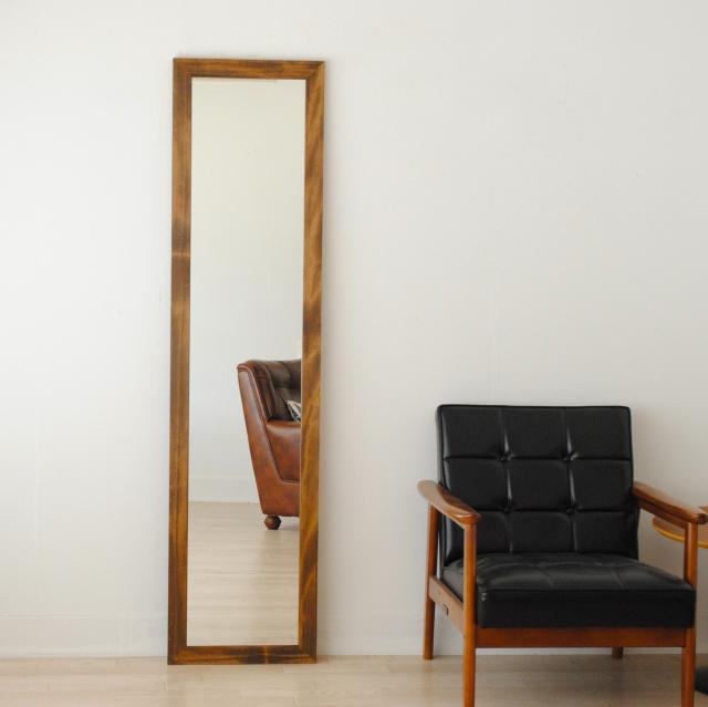 レオン ウォールミラー 壁掛け 全身 鏡 アンティーク調 天然木 日本製 ブラウン ナチュラル W400×1610