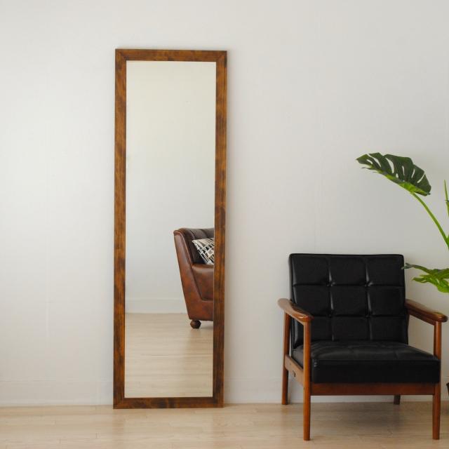 レオン ウォールミラー 壁掛け 全身 鏡 アンティーク調 天然木 日本製 ブラウン ナチュラル W500×1610