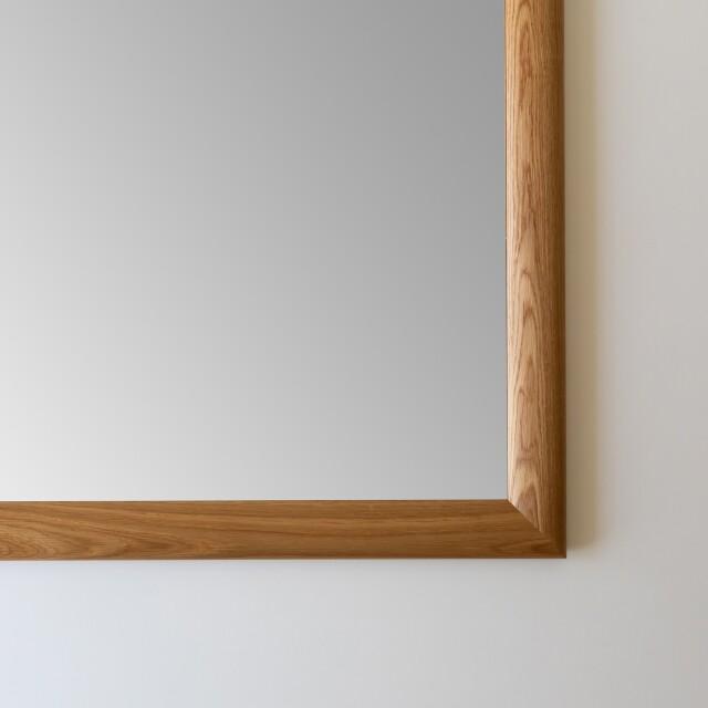 SOL ソル 30x30cm ホワイトオーク材 壁掛けミラー 正方形 (通常便商品)
