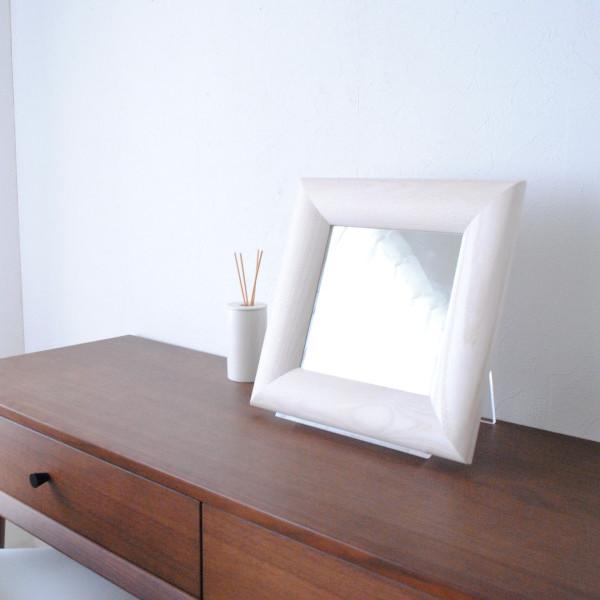 SOL ソル 30x30cm ホワイトアッシュ材 全4色 壁掛けミラー 正方形 (通常便商品)