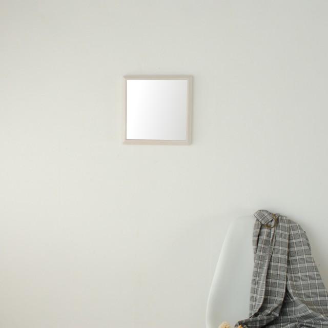 ステラ 27x27cm ホワイトアッシュ材 全4色 壁掛けミラー 卓上ミラー 正方形 (通常便商品)