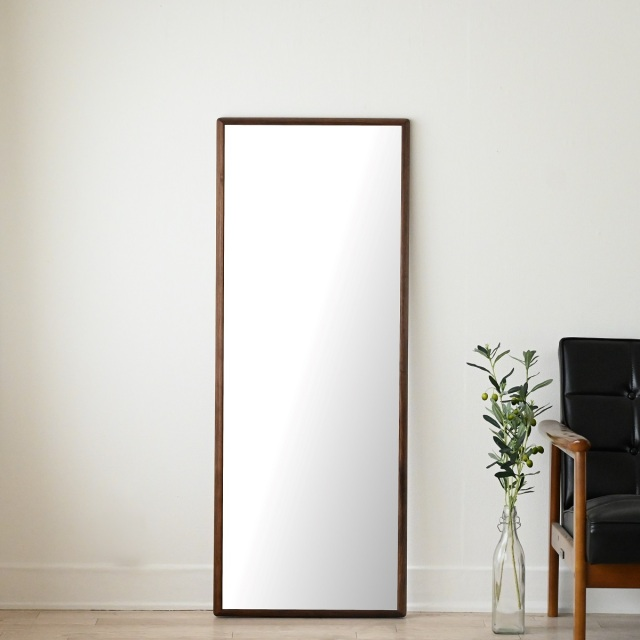 センノキ天然木SENNOKI鏡おしゃれオーダーミラー日本製インスタ全身鏡大型ダンスリブラステラブラウンウォールナット