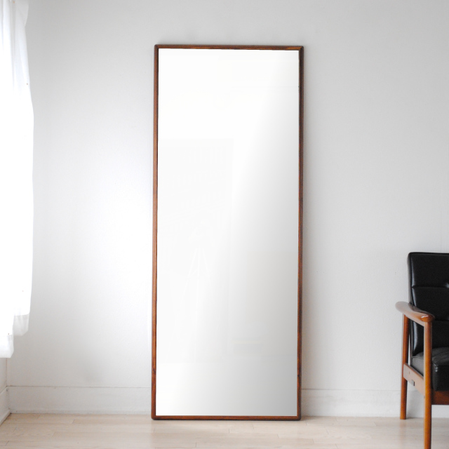 ステラ ウォールミラー ウォールナット W622×1552 クリアー 壁掛け 全身 鏡 アンティーク調 日本製