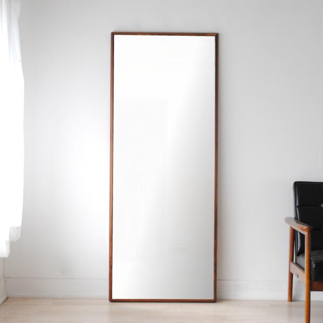 ステラ 62x155cm ウォールナット材 姿見 壁掛けミラー 全身鏡 (大型商品)