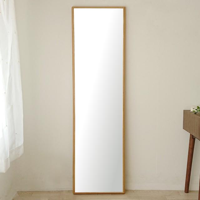 ステラ 44.2x155.2cm ホワイトオーク材 姿見 壁掛けミラー 全身鏡 (大型商品)