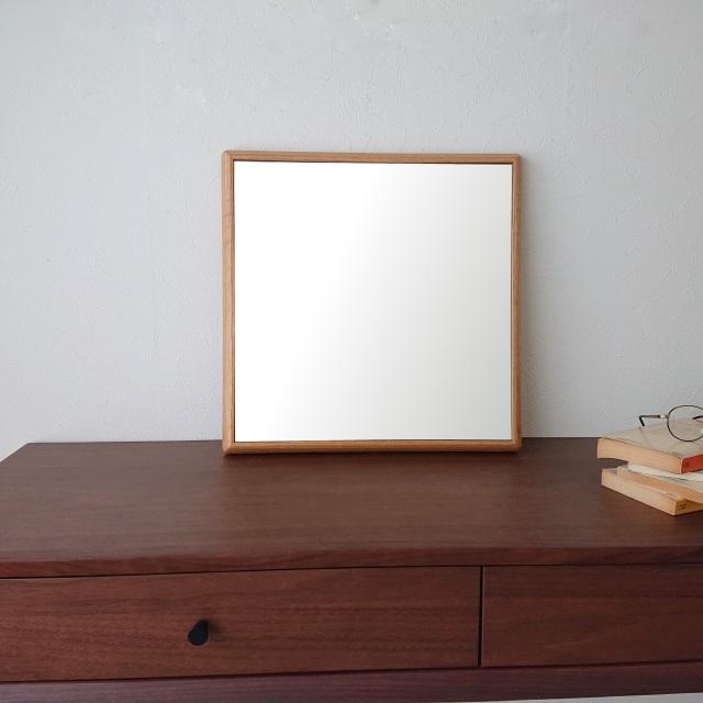 ステラ 44.2x44.2cm ホワイトオーク材 壁掛けミラー 正方形 (通常便商品)