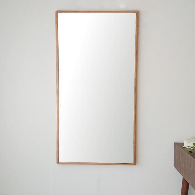 ステラ 54.2x102.2cm ホワイトオーク材 姿見 壁掛けミラー 長方形 (通常便商品)
