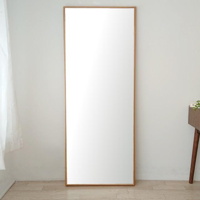 ステラ 62.2x155.2cm ホワイトオーク材 姿見 壁掛けミラー 全身鏡 (大型商品)