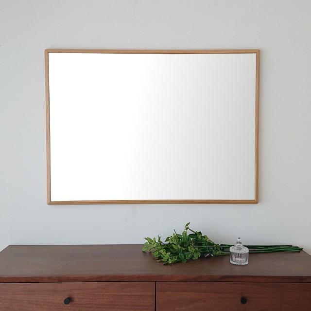 ステラ 64.2x88.2cm ホワイトオーク材 姿見 壁掛けミラー 長方形 (通常便商品)