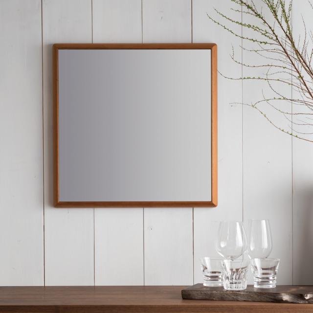 ステラ 62.2x62.2cm アメリカンチェリー材 壁掛けミラー 正方形 (通常便商品)