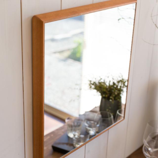 ステラ ウォールミラー アメリカンチェリー W492×742 クリアー 壁掛け 全身 鏡 アンティーク調 日本製