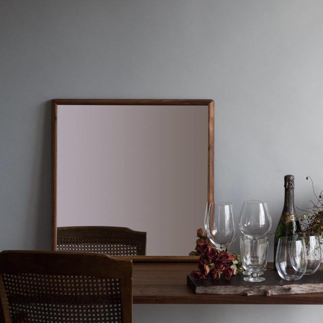ステラ ウォールミラー ウォールナット W542×542 クリアー 壁掛け 全身 鏡 アンティーク調 日本製