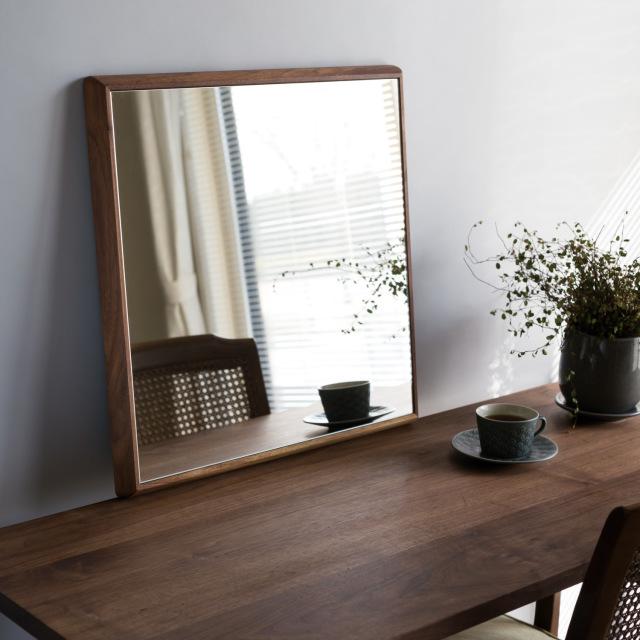 ステラ ウォールミラー ウォールナット W442×442 クリアー 壁掛け 全身 鏡 アンティーク調 日本製