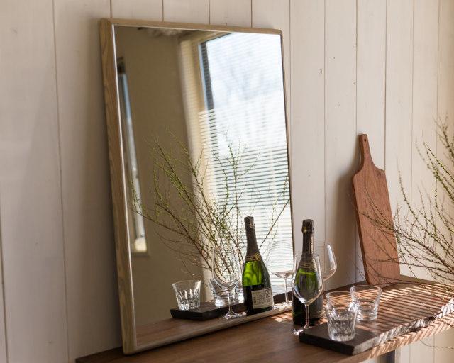 ステラ ウォールミラー ホワイトアッシュ W272×272 壁掛け 全身 鏡 アンティーク調 日本製