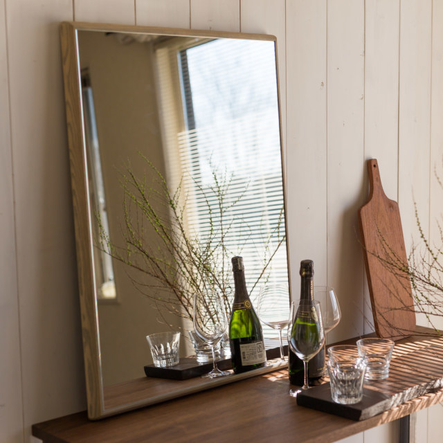 ステラ ウォールミラー ホワイトアッシュ W442×442 壁掛け 全身 鏡 アンティーク調 日本製