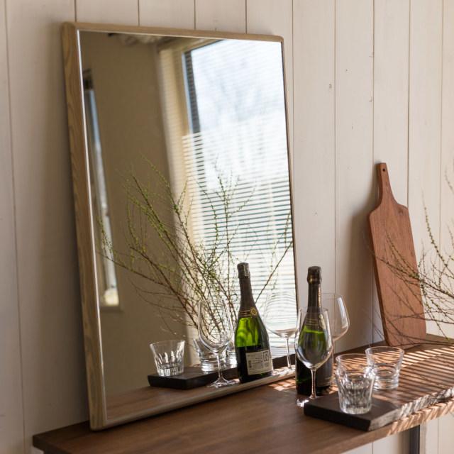 ステラ ウォールミラー ホワイトアッシュ W542×542 壁掛け 全身 鏡 アンティーク調 日本製