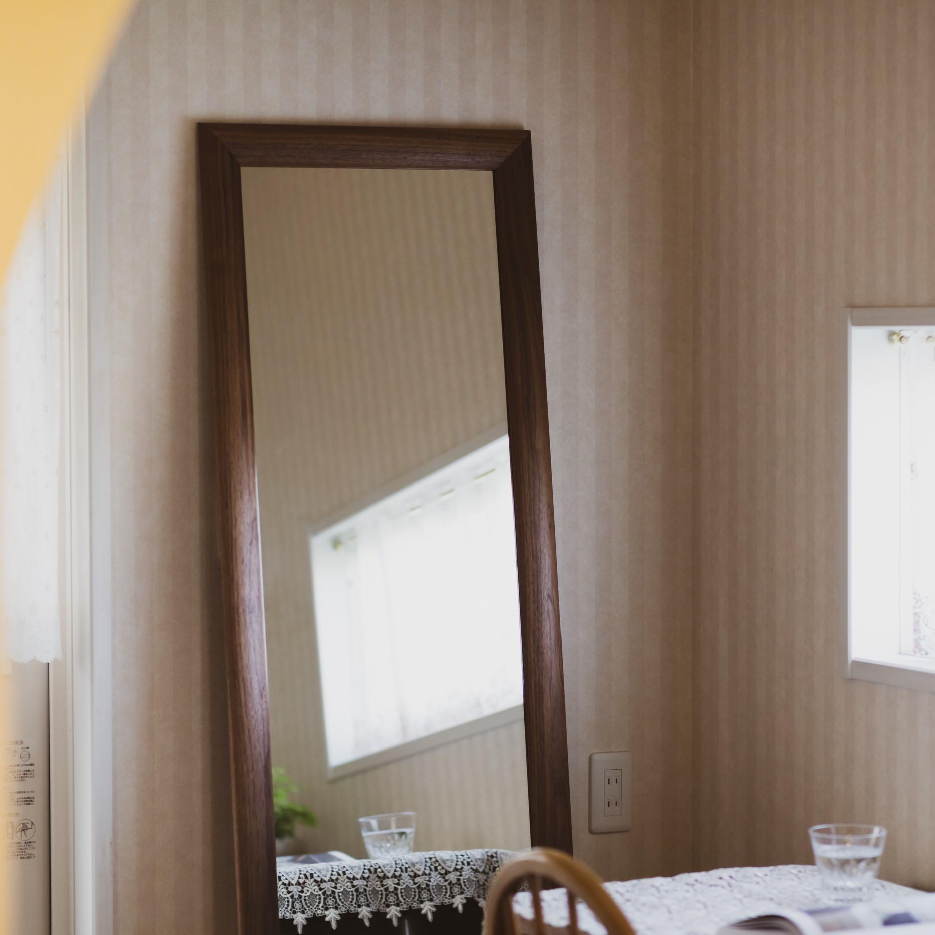 SOL ソル 59x161cm ウォールナット材 姿見 壁掛けミラー 全身鏡 (大型商品)