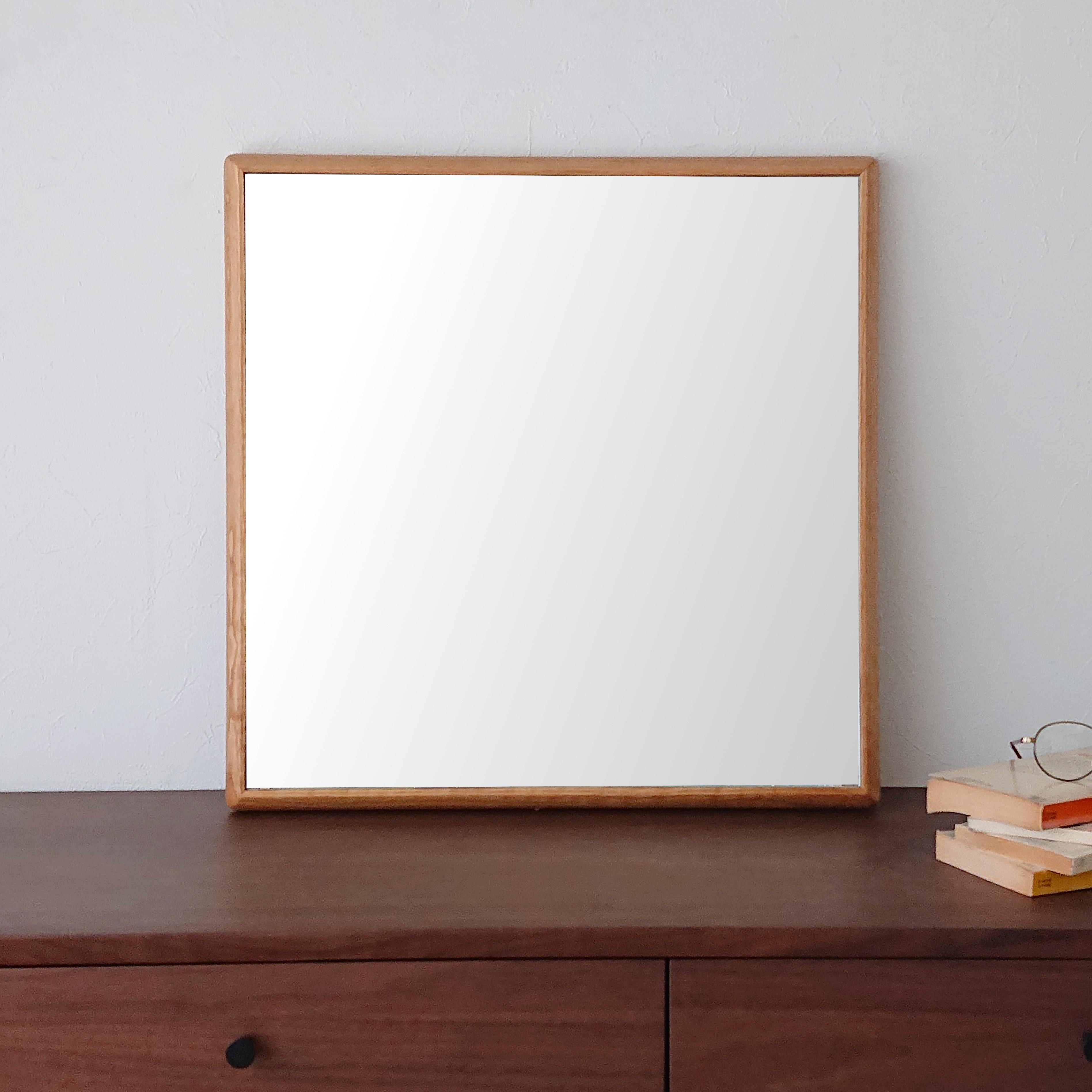 ステラ 54.2x54.2cm ホワイトオーク材 壁掛けミラー 正方形 (通常便商品)