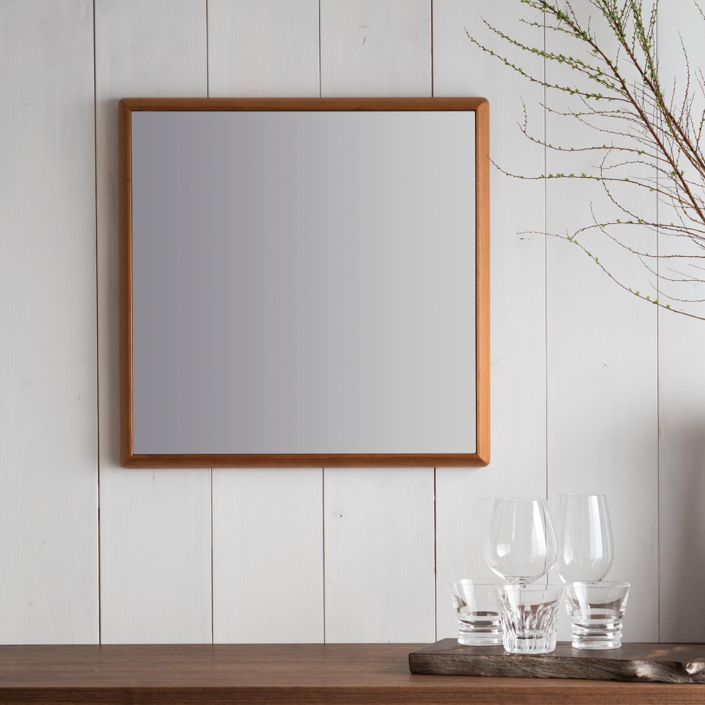ステラ 27.2x27.2cm アメリカンチェリー材 壁掛けミラー 卓上ミラー 正方形 (通常便商品)