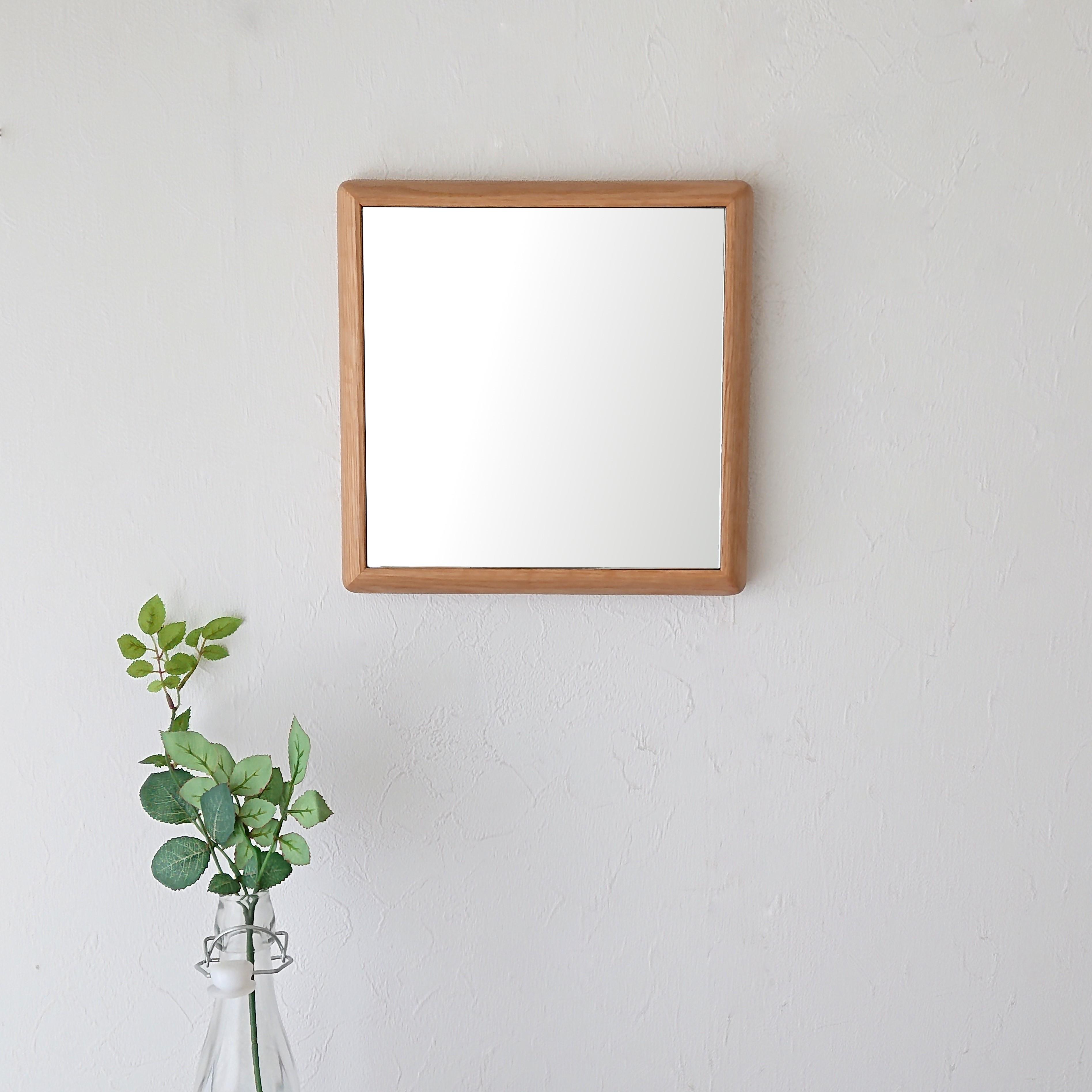 ステラ 27x27cm ホワイトオーク材 壁掛けミラー 卓上ミラー 正方形 (通常便商品)