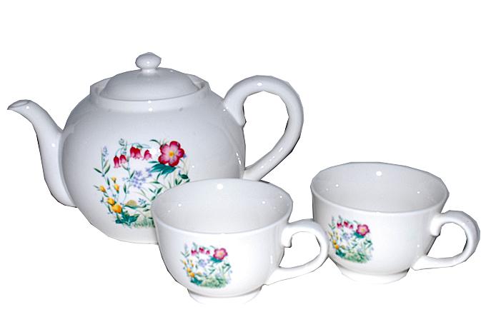廃盤 非売品 バラクライングリッシュガーデン オリジナル 陶器ティーフォーツー(ポット、カップ2個)