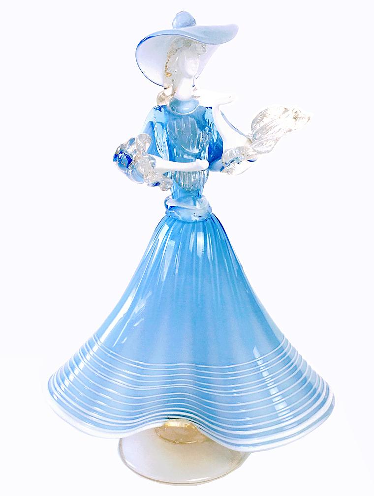 ベネチアンガラス MURANO ガラス ブルーの貴婦人 ドール
