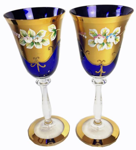 ヴィンテージ ボヘミアグラス ワイングラス2脚セット 旧チェコスロバキア製