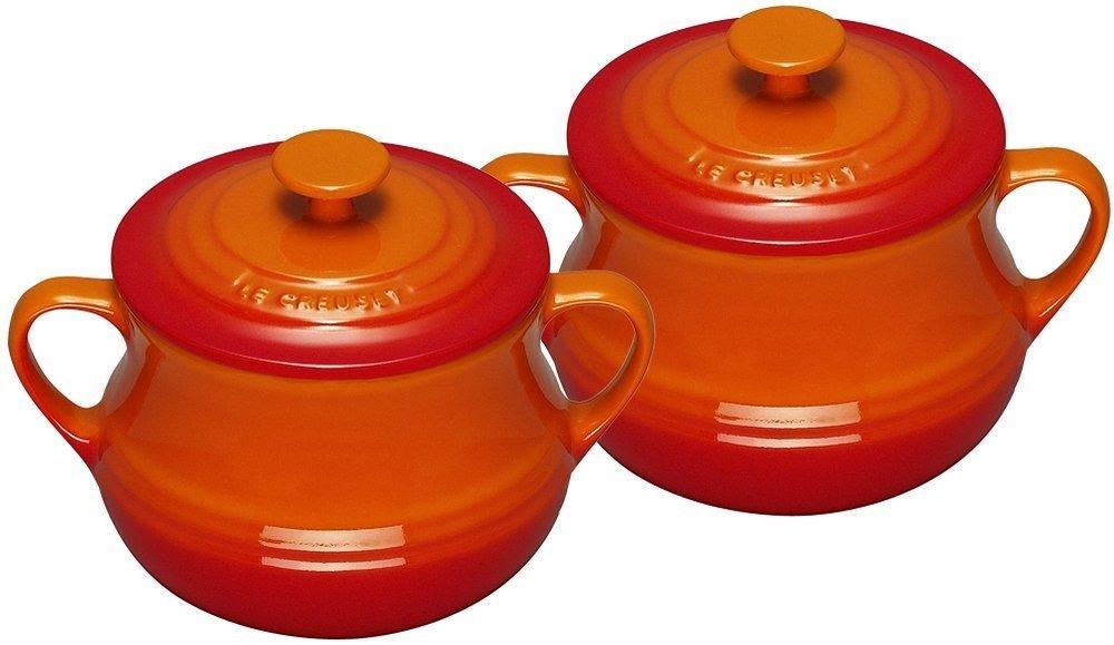 ル・クルーゼ LE CREUSET  蓋付きスープボウル ボール オレンジ 2個セット